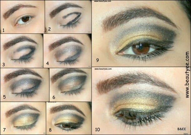 Smoky eye with Gold pigment