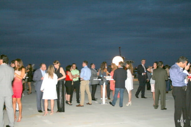 The guests mingling during the cocktail hour